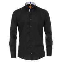 Redmond MODERN FIT Hemd UNI STRETCH schwarz mit Button Down Kragen in moderner Schnittform
