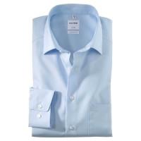 OLYMP Luxor comfort fit Hemd UNI POPELINE hellblau mit New Kent Kragen in klassischer Schnittform