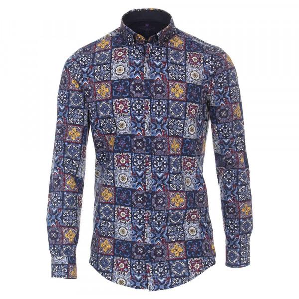 Redmond SLIM FIT Hemd PRINT hellblau mit Button Down Kragen in schmaler Schnittform