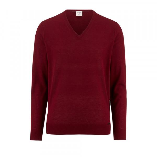 OLYMP Strick Level Five Pullover dunkelrot in schmaler Schnittform
