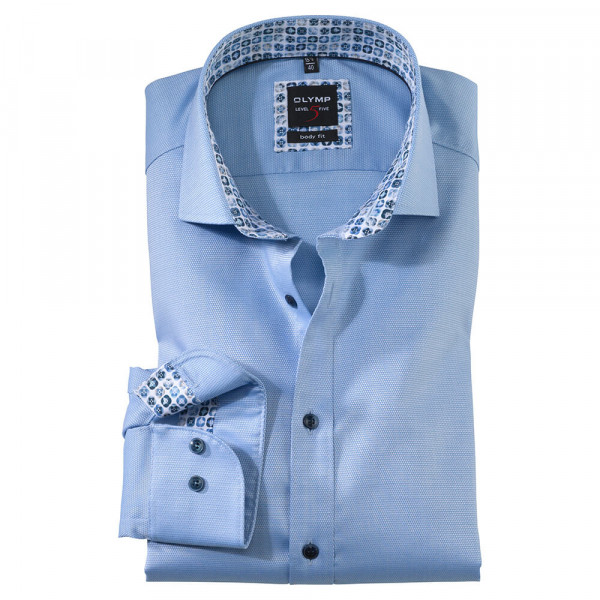 OLYMP Level Five body fit Hemd STRUKTUR hellblau mit Royal Kent Kragen in schmaler Schnittform