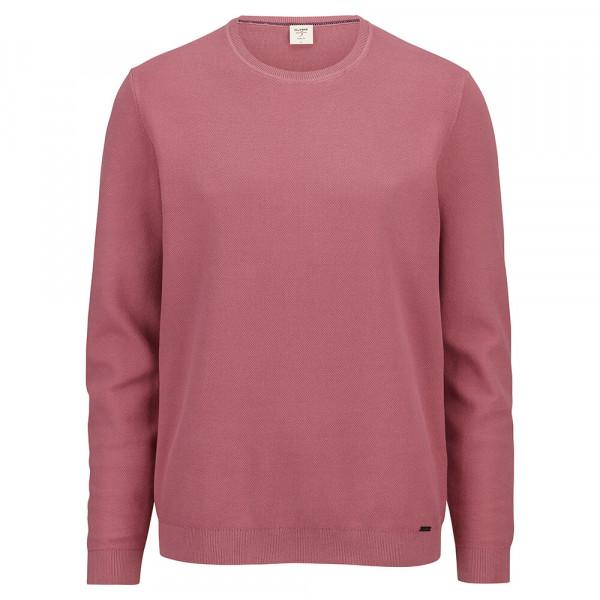 OLYMP Strick Level Five Pullover rosa in schmaler Schnittform