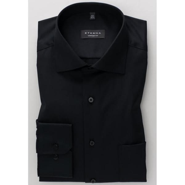 Eterna Hemd COMFORT FIT TWILL schwarz mit Classic Kent Kragen in klassischer Schnittform