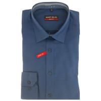 Marvelis BODY FIT Hemd PRINT dunkelblau mit New York Kent Kragen in schmaler Schnittform