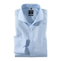 OLYMP No. Six super slim Hemd UNI POPELINE hellblau mit Hai Kragen in super schmaler Schnittform