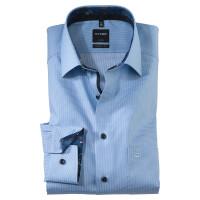 OLYMP Luxor modern fit Hemd STRUKTUR hellblau mit New Kent Kragen in moderner Schnittform