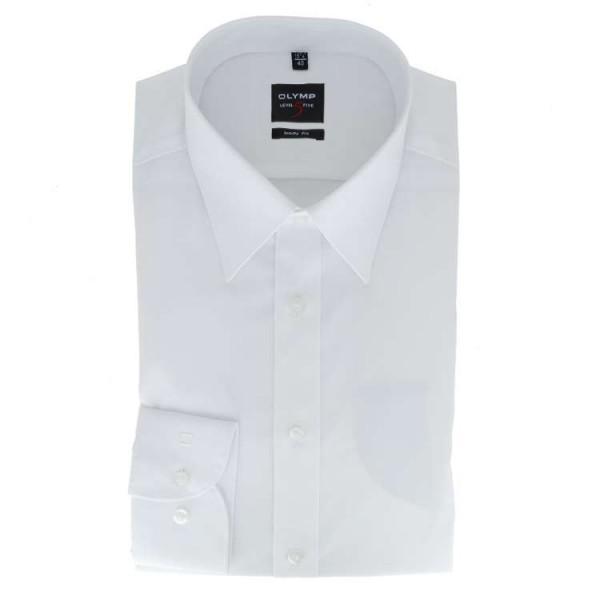 OLYMP Level Five body fit Hemd UNI POPELINE weiss mit New York Kent Kragen in schmaler Schnittform