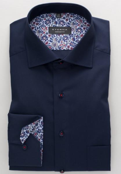 Eterna Hemd COMFORT FIT UNI POPELINE dunkelblau mit Classic Kent Kragen in klassischer Schnittform