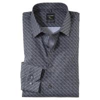 OLYMP No. Six super slim Hemd PRINT schwarz mit Urban Ken Kragen in super schmaler Schnittform
