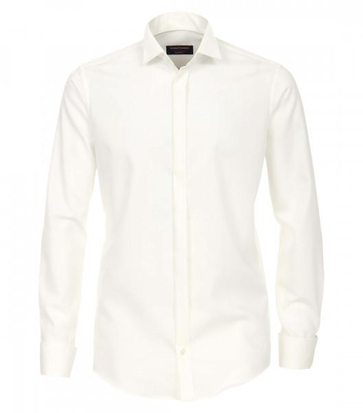 CASAMODA Hemd MODERN FIT UNI POPELINE beige mit Kläppchen Kragen in moderner Schnittform