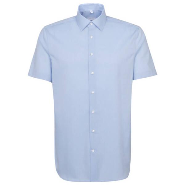 Seidensticker SHAPED Hemd FIL Á FIL hellblau mit Business Kent Kragen in moderner Schnittform