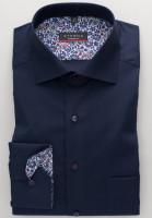 Eterna Hemd MODERN FIT UNI POPELINE dunkelblau mit Classic Kent Kragen in moderner Schnittform