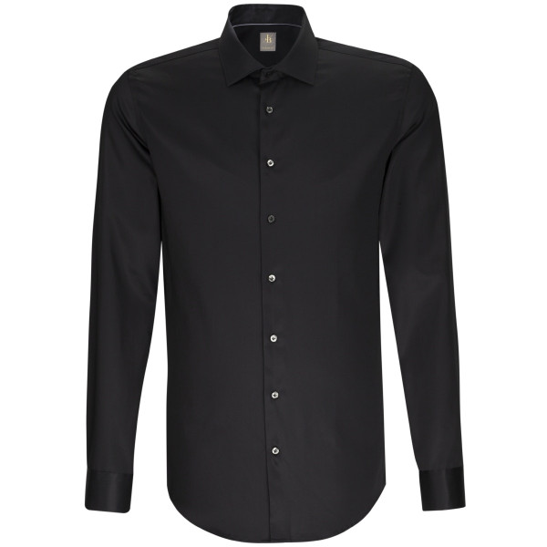 Jacques Britt CUSTOM FIT Hemd SATIN schwarz mit Kent Kragen in moderner Schnittform