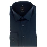 OLYMP Luxor modern fit Hemd UNI POPELINE dunkelblau mit New Kent Kragen in moderner Schnittform
