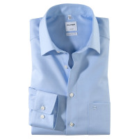 OLYMP Luxor comfort fit Hemd TWILL hellblau mit New Kent Kragen in klassischer Schnittform