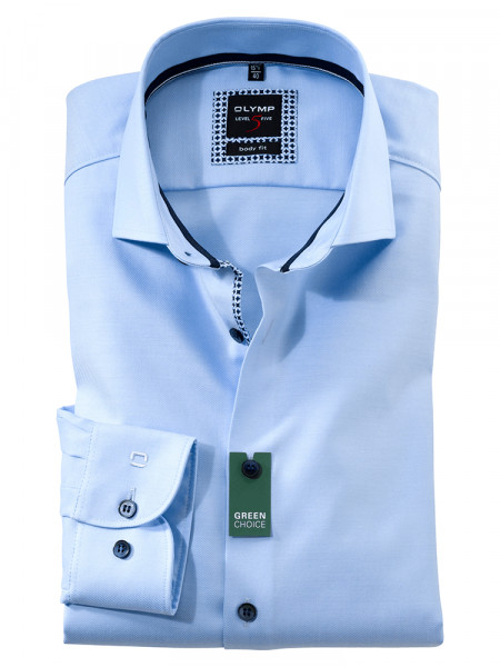 Olymp Hemd LEVEL 5 TWILL hellblau mit Royal Kent Kragen in schmaler Schnittform