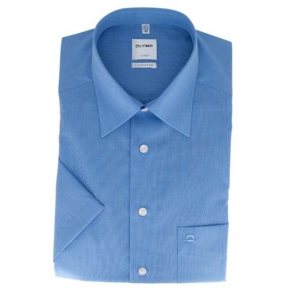 Olymp Luxor comfort fit Halbarmhemd Fil á Fil blau mit Kent Kragen in klassischer Schnittform