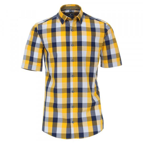Redmond Hemd REGULAR FIT UNI POPELINE gelb mit Kent Kragen in klassischer Schnittform