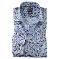 OLYMP Level Five body fit Hemd PRINT hellblau mit Royal Kent Kragen in schmaler Schnittform