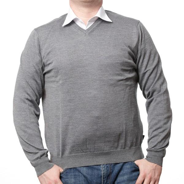 Olymp Pullover in grau mit V-Ausschnitt
