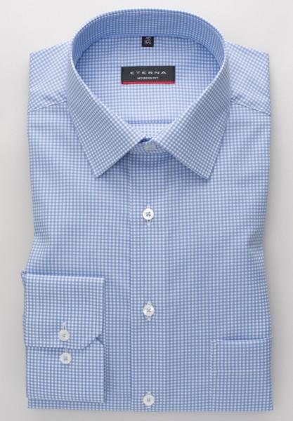 Eterna Hemd MODERN FIT TWILL KARO hellblau mit Modern Kent Kragen in moderner Schnittform