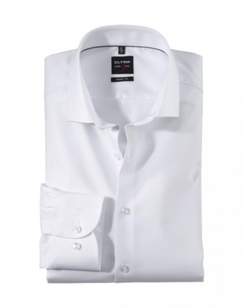 OLYMP Level Five body fit Hemd TWILL weiss mit Royal Kent Kragen in schmaler Schnittform
