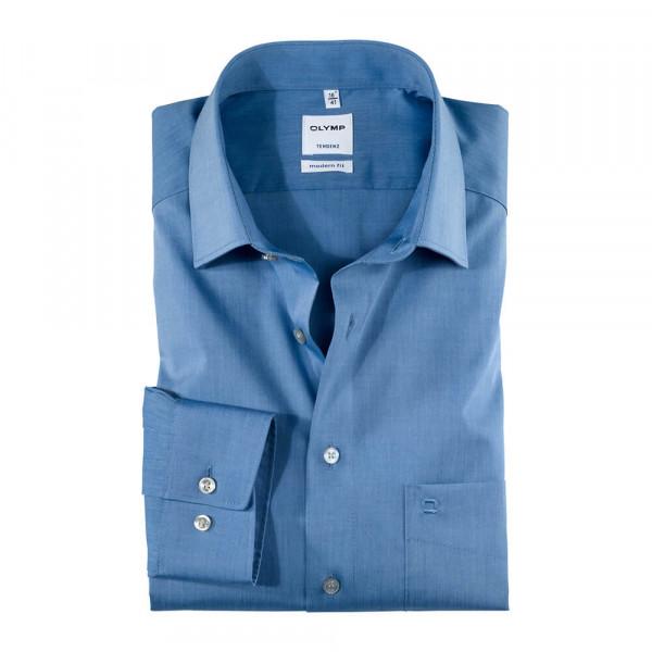 OLYMP Tendenz modern fit Hemd CHAMBRAY mittelblau mit New Kent Kragen in moderner Schnittform