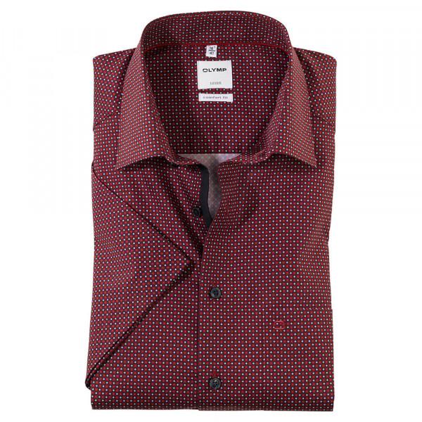 OLYMP Luxor comfort fit Hemd PRINT rot mit New Kent Kragen in klassischer Schnittform