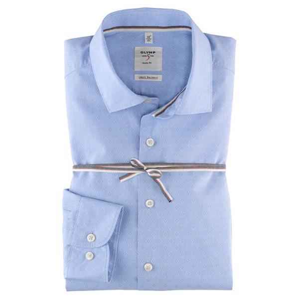 OLYMP Level Five Smart Business body fit Hemd PRINT hellblau mit Kent Kragen in schmaler Schnittform