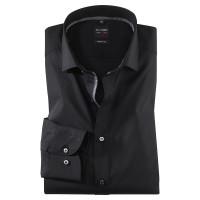 OLYMP Level Five body fit Hemd UNI POPELINE schwarz mit Royal Kent Kragen in schmaler Schnittform