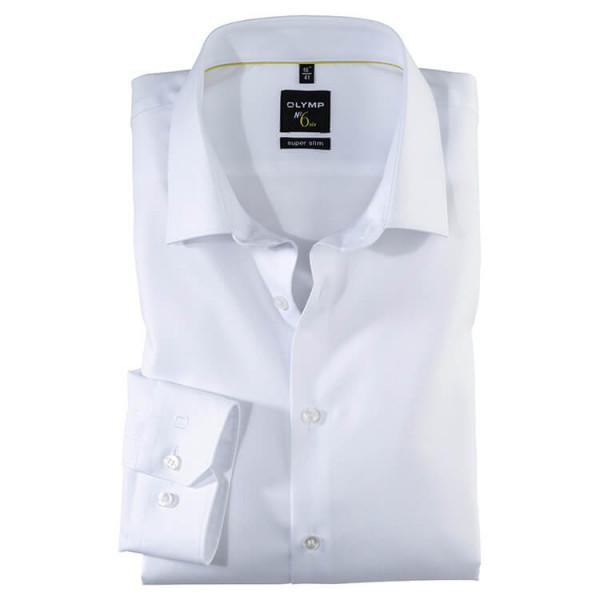 OLYMP No. Six super slim Hemd TWILL weiss mit Urban Kent Kragen in super schmaler Schnittform