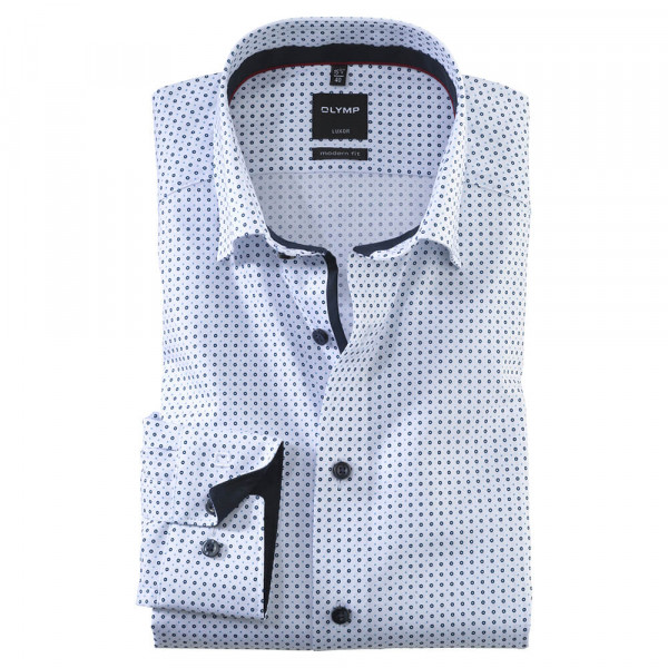 OLYMP Luxor modern fit Hemd PRINT weiss mit Under Button Down Kragen in moderner Schnittform