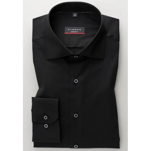 Eterna Hemd MODERN FIT UNI STRETCH schwarz mit Classic Kent Kragen in moderner Schnittform