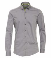 Venti Hemd MODERN FIT UNI POPELINE grau mit Button Down Kragen in moderner Schnittform