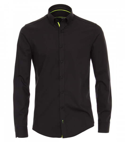 Venti Hemd MODERN FIT UNI POPELINE schwarz mit Button Down Kragen in moderner Schnittform