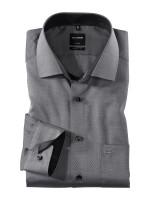 Olymp Hemd MODERN FIT FAUX UNI schwarz mit Global Kent Kragen in moderner Schnittform