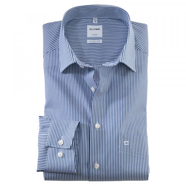 OLYMP Luxor comfort fit Hemd TWILL STREIFEN dunkelblau mit New Kent Kragen in klassischer Schnittform