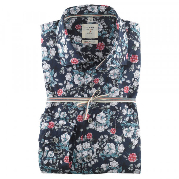 OLYMP Level Five Smart Business body fit Hemd PRINT dunkelblau mit Kent Kragen in schmaler Schnittform