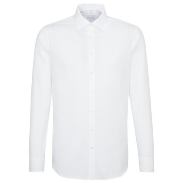 Seidensticker SLIM FIT Hemd STRUKTUR weiss mit Business Kent Kragen in schmaler Schnittform