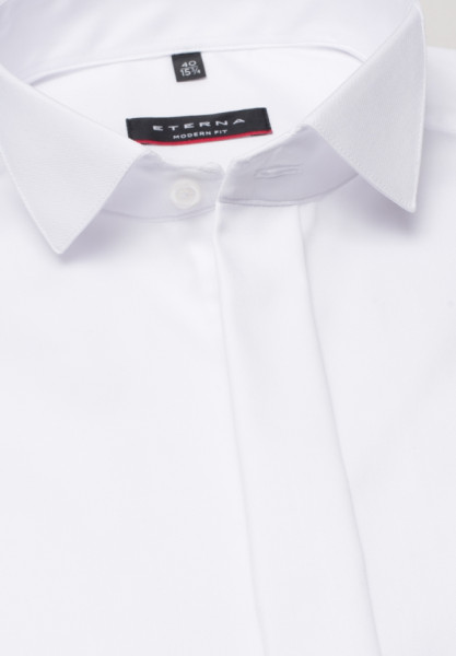 Eterna Hemd MODERN FIT TWILL weiss mit Kläppchen Kragen in moderner Schnittform
