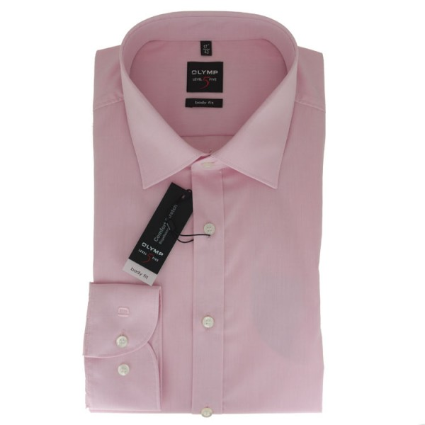 OLYMP Level Five body fit Hemd CHAMBRAY rosa mit New York Kent Kragen in schmaler Schnittform