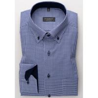 Eterna Hemd COMFORT FIT TWILL KARO dunkelblau mit Button Down Kragen in klassischer Schnittform