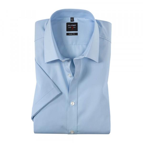 OLYMP Level Five body fit Hemd UNI POPELINE hellblau mit New York Kent Kragen in schmaler Schnittform