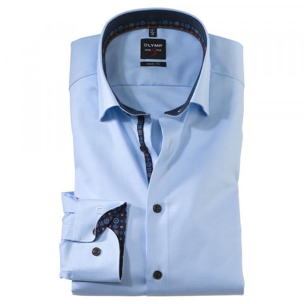 OLYMP Level Five body fit Hemd TWILL hellblau mit Under Button Down Kragen in schmaler Schnittform