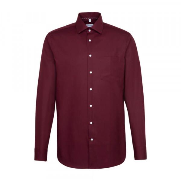 Seidensticker Hemd REGULAR UNI POPELINE dunkelrot mit Business Kent Kragen in moderner Schnittform