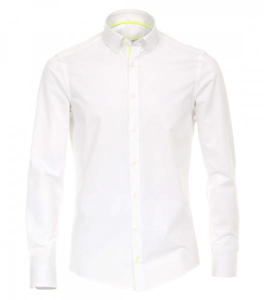 Venti Hemd MODERN FIT UNI POPELINE weiss mit Button Down Kragen in moderner Schnittform