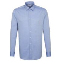 Seidensticker SHAPED Hemd CHAMBRAY mittelblau mit Business Kent Kragen in moderner Schnittform