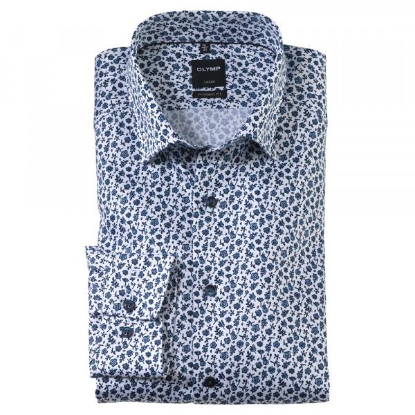OLYMP Luxor modern fit Hemd PRINT hellblau mit Under Button Down Kragen in moderner Schnittform
