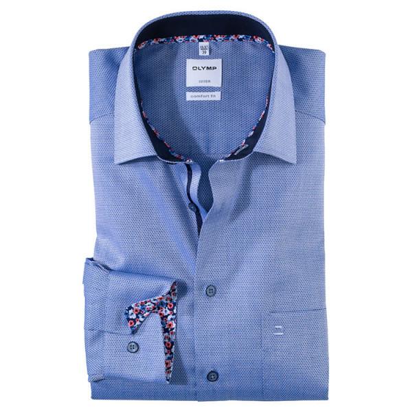 OLYMP Luxor comfort fit Hemd STRUKTUR dunkelblau mit New Kent Kragen in klassischer Schnittform