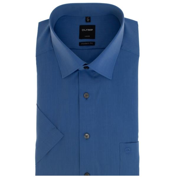 OLYMP Luxor modern fit Hemd CHAMBRAY mittelblau mit New Kent Kragen in moderner Schnittform